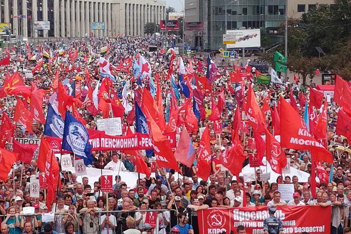 Левые вывели наСахарова 6,5 тыс. противников пенсионной реформы